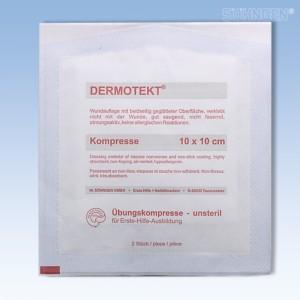 DERMOTEKT Übungs-Kompresse 10 x 10 cm 2 Stück unsteril