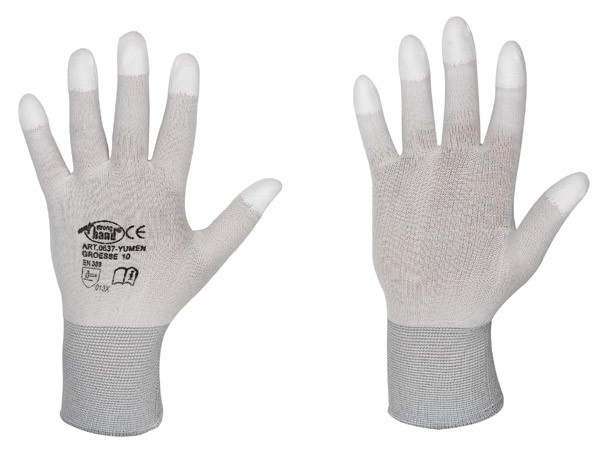 Größen beschichtete Fingerkuppen PU Handschuhe Arbeitshandschuhe Yumen versch