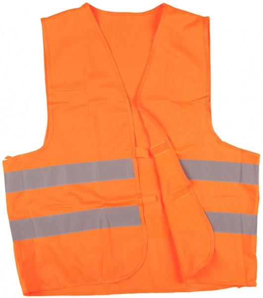 Warnweste, 100% Polyester, orange, mit zwei Reflexstreifen und Klettverschluss