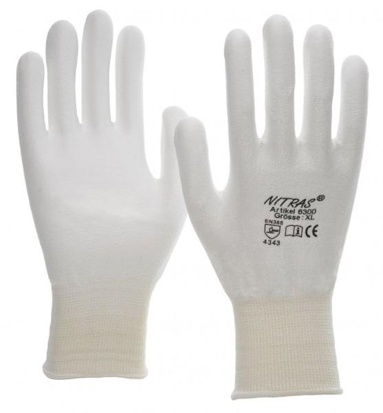 Schnittschutz-Strickhandschuhe aus Spezialfaser, weiß, weiße PU-Beschichtung