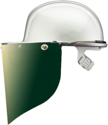 VOSS Gesichtsschutzschild, goldbedampft 500*250 mm, grün beschichtet mit Versiegelung