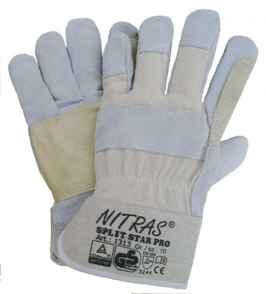 SPLIT STAR PRO Rindspaltlederhandschuhe mit großem Innenbesatz aus Vollleder inkl. Daumen und Zeigef