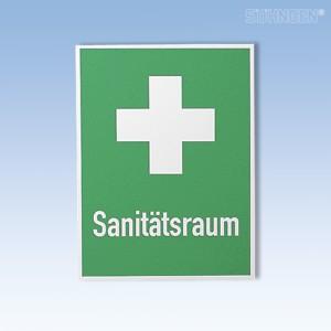 Rettungszeichen 400x300mm Sanitätsraum+Kreuz
