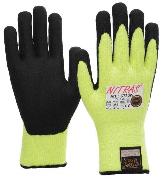 WINTER-CUT Nahtloser Terry-Schlingenhandschuh, neongelb, schwarze Latexschaum-Beschichtung