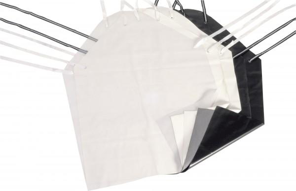 W 3/L Schürze aus kräftiger, widerstandsfähiger Folie, verstärkte eingeschweißte Plastik-Ösen, weiß,