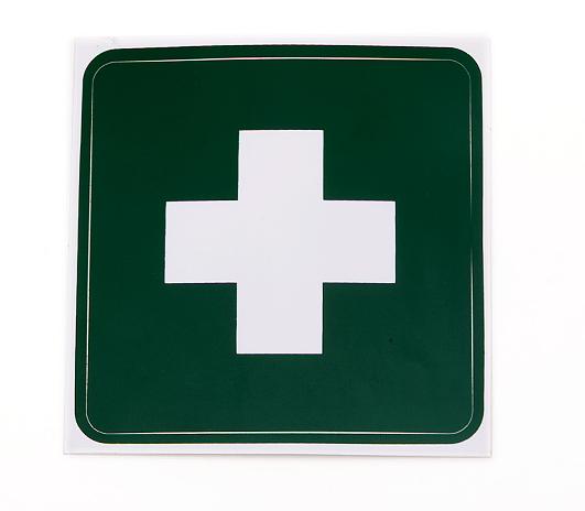 Rettungszeichen weißes Kreuz auf grünem Grund