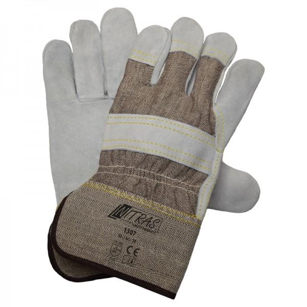 NITRAS 1308 Rindspaltlederhandschuhe, brauner Drellrücken und PE-Stulpe