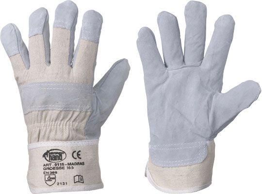 HK//TOP Stronghand Rindspaltleder Handschuhe mit gummierter Stulpe