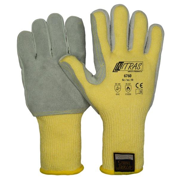 TAEKI5 Schnitt- und Hitzeschutz Strickhandschuhe, Leder-Besatz auf Innenhand mit Schichteln